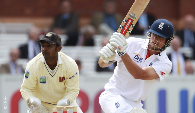 Alastair Cook on his way to a century against Sri Lanka in 2011