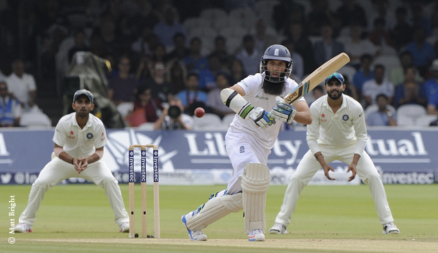 Moeen Ali batting for England on the final day at Lord's