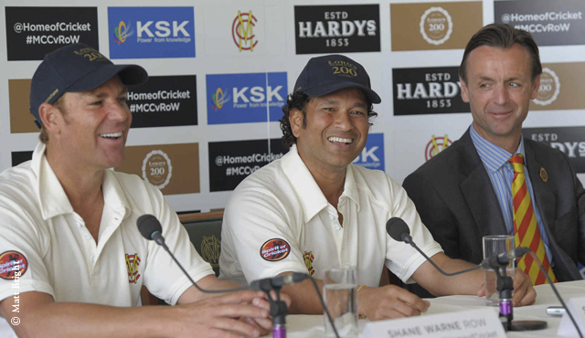 Sachin Tendulkar alongside Shane Warne at today's press conference