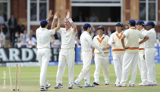 MCC players celebrate a wicket