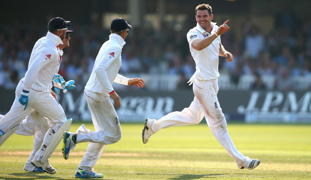 James Anderson takes a wicket for England