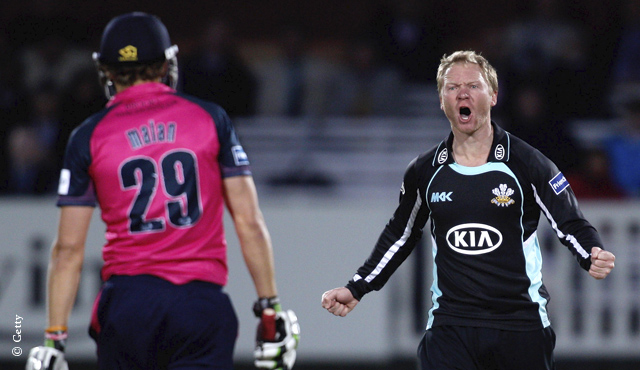 Gareth Batty after dismissing Dawid Malan