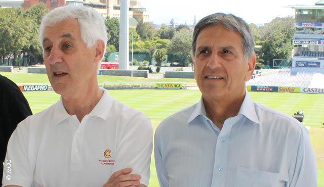Mike Brearley (left) and Majid Khan