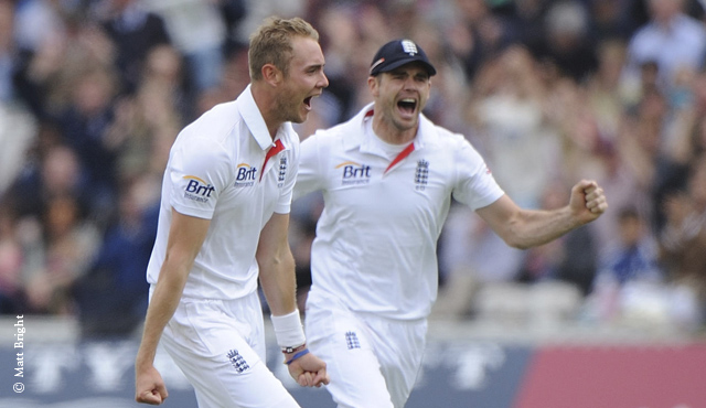 England bowlers Stuart Broad and James Anderson