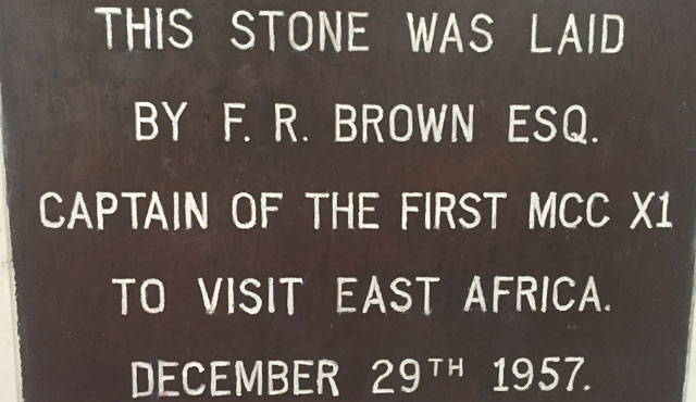 An inscribed stone laid by FR Brown sits within the pavilion at the Gymkhana Club