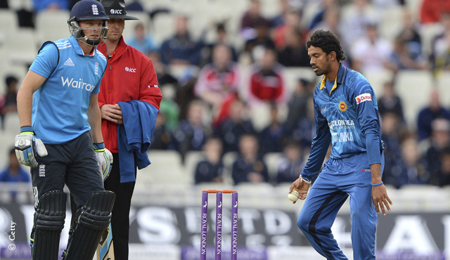 Jos Buttler and Sachithra Senanayake at the flashpoint during the ODI