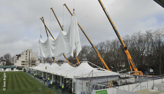 The Nursery Pavilion canopy being attached