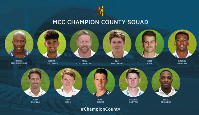 The MCC squad for 2018 Champion County Tour