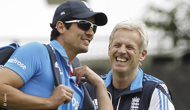 Alastair Cook and Peter Moores share a joke