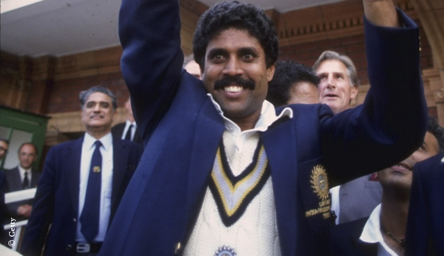 Kapil Dev lifts the World Cup at Lord's in 1983