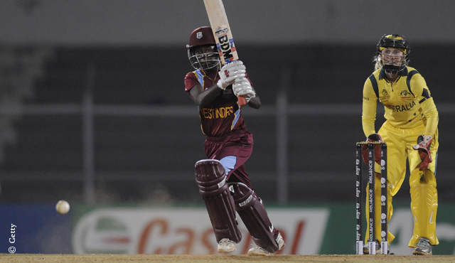 Deandra Dottin on the attack for the West Indies