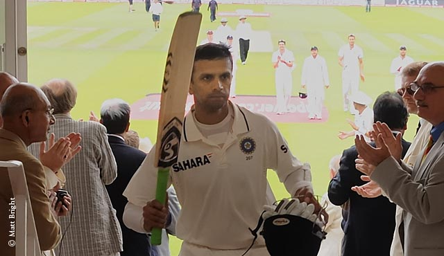 Dravid celebrates his century at Lord's