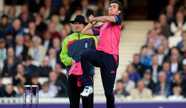 Steve Finn bowling for Middlesex in the Natwest T20 Blast