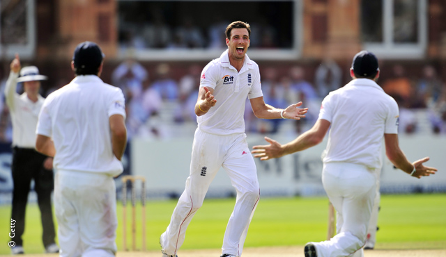Steven Finn celebrates a wicket at Lord's