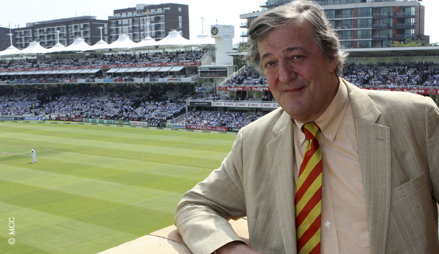 Stephen Fry on the Committee Dining Room balcony at Lord's