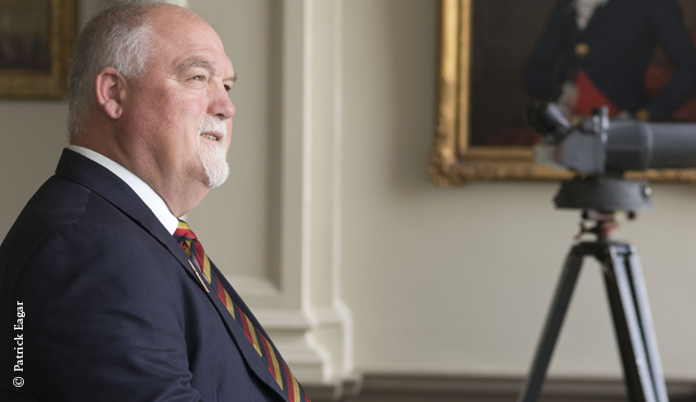 MCC President Mike Gatting in the Club's Committee Room