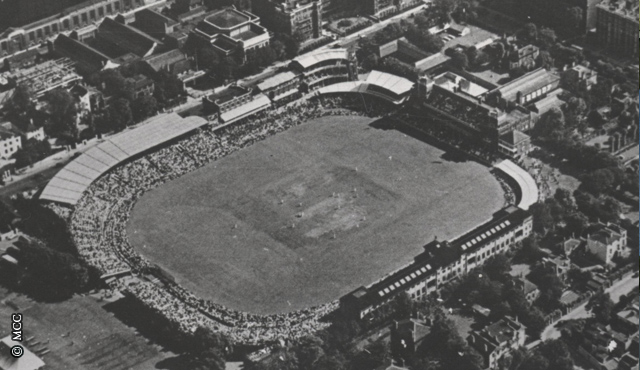 An aerial shot of Lord's in the 1940s