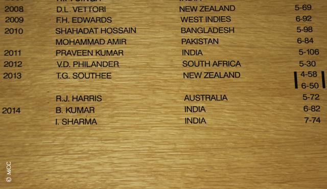 Bhuvneshwar Kumar and Ishant Sharma's names sitting proudly on the Honours Board