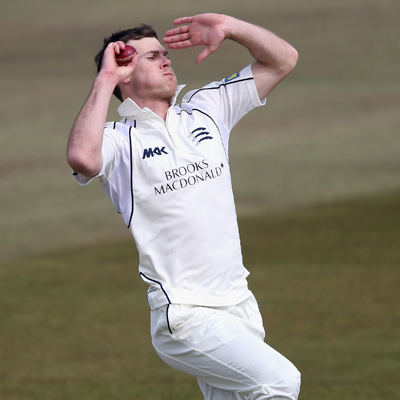 James Harris bowling for Middlesex