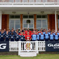 The Inter-Services T20 squads in front of the Lord's Pavilion