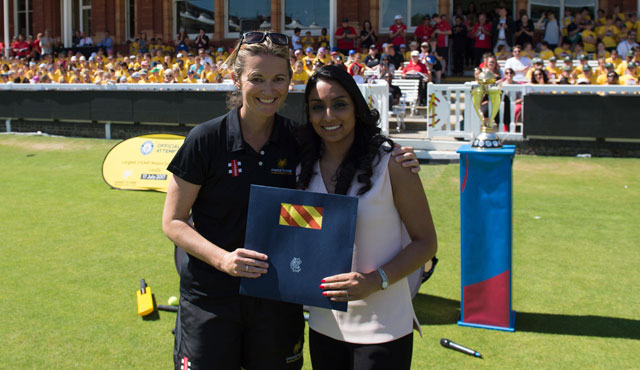 Isa Guha was welcomed to the Club by fellow Member Charlotte Edwards
