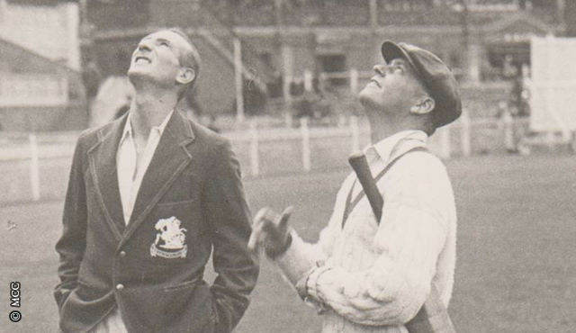 Douglas Jardine (left) and Australia captain Bill Woodful