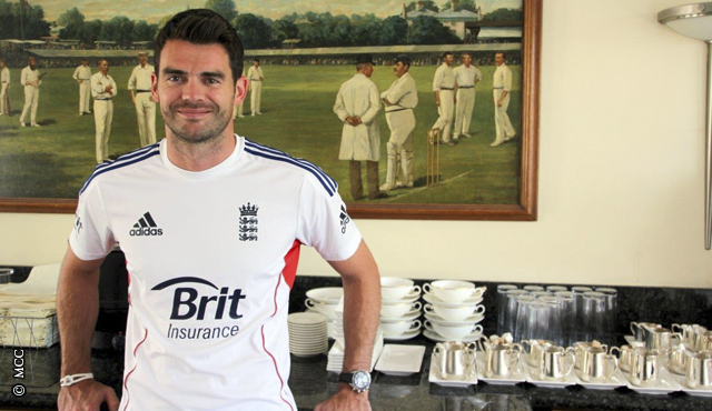 James Anderson in the Players' Dining Room