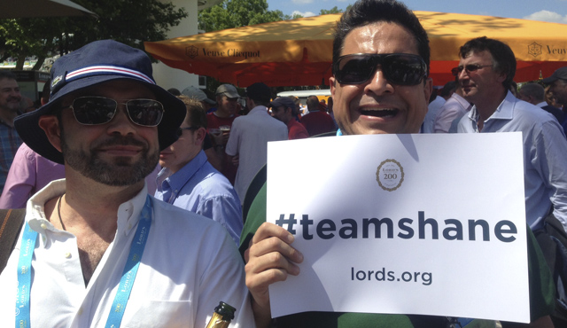 Dom Joly (right) pledges his support to Team Shane for July 5
