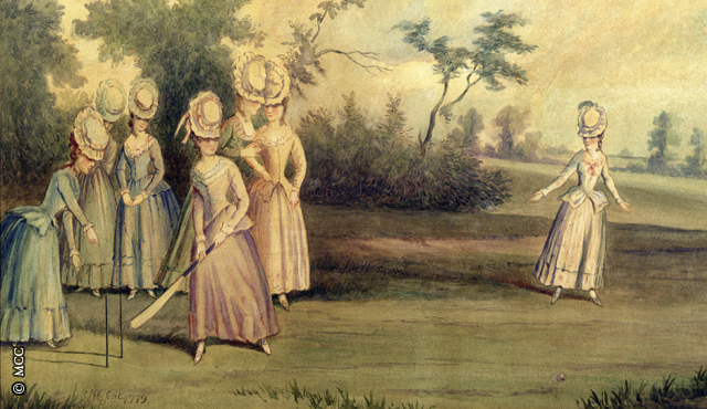 Cricket match played by the Countess of Derby and other ladies (1779)