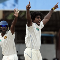 Lasith Malinga appealing for a wicket