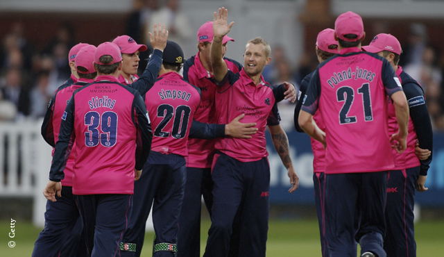 Middlesex celebrate a wicket