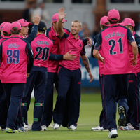 Middlesex celebrate a wicket at Lord's