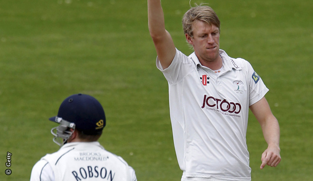 Yorkshire's Steven Patterson gets the breakthrough wicket of Sam Robson