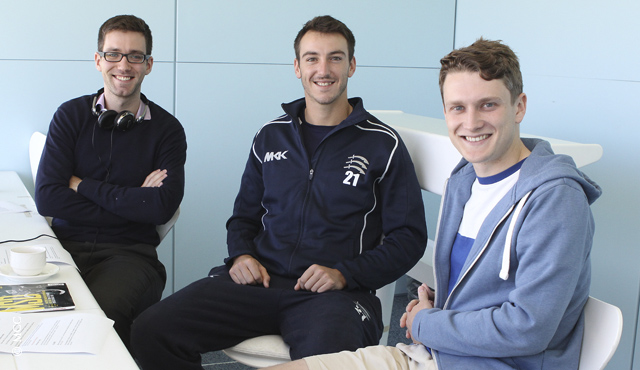Middlesex's Toby Roland-Jones and Ed Kemp with Lords.org's Will Roe