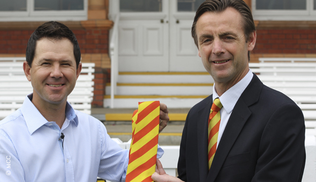 MCC Head of Cricket John Stephenson presents Ricky Ponting with his MCC tie