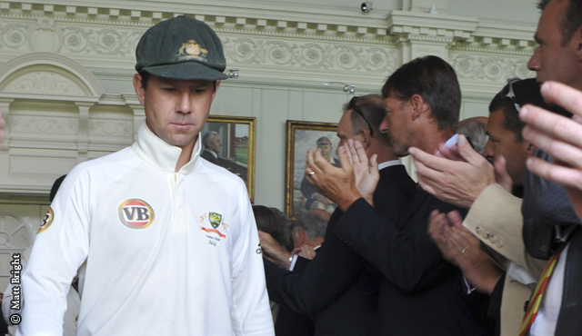 Ponting leads Australia through the Pavilion Long Room in 2009