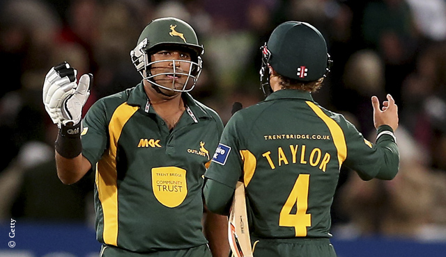 Samit Patel and James Taylor celebrate victory