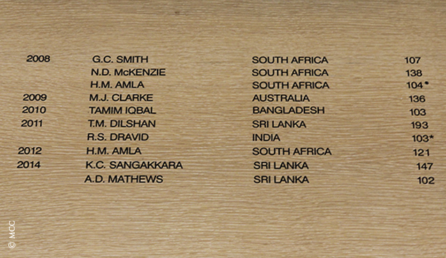 Kumar Sangakkara and Angelo Mathews are the latest additions to the Away Dressing Room Honours Board