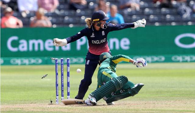 Sarah Taylor produced a magical stumping to dismiss Trisha Chetty