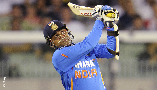 Virender Sehwag in action for India