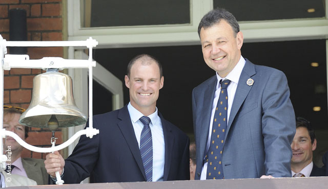 Andrew Strauss celebrates a Test century at Lord's in 2012