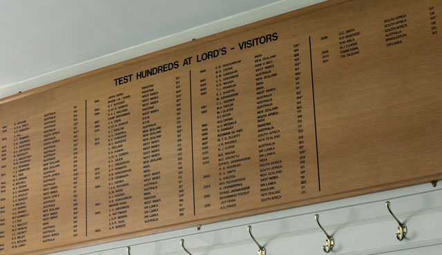 The Lord's Honours Board in the visiting dressing room