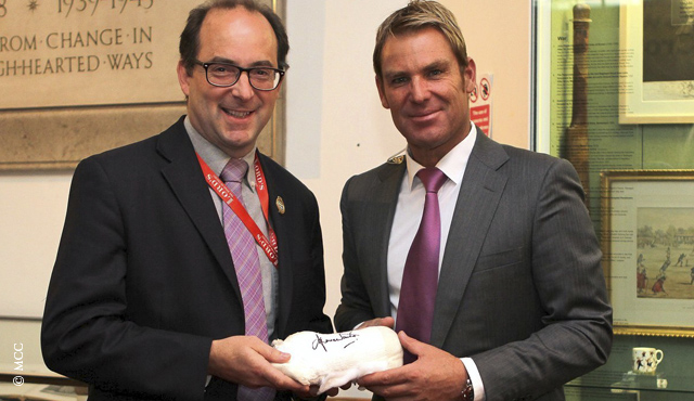 Shane Warne donates his plaster cast to MCC Curator Adam Chadwick