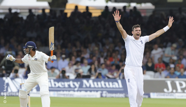 James Anderson appeals for a wicket on Day Four at Lord's