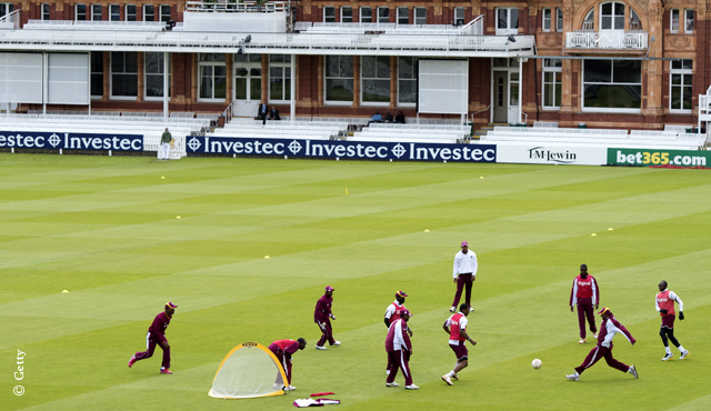 The West Indies warm up with a game of football at Lord's in 2012