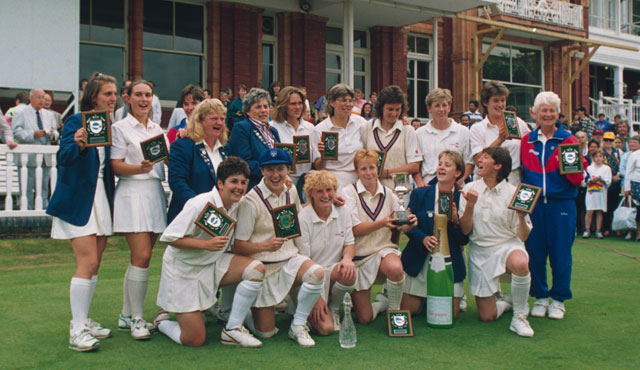 The 1993 England Women's side celebrate their success