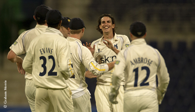 Chris Wright celebrates a wicket