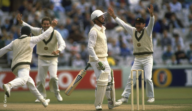 Terry Alderman celebrates a wicket in the 1989 series
