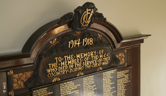 MCC Roll of Honour hanging in the Pavilion