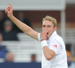 Stuart Broad celebrates a wicket at Lord's.